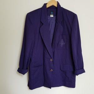 Vintage | Embroidered Pocket Purple Blazer